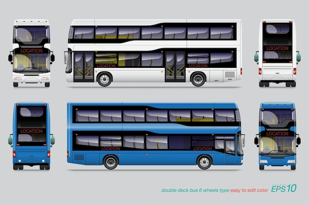 Doppeldeck bus vorlage für auto branding und werbung isoliert auf grauem hintergrund.