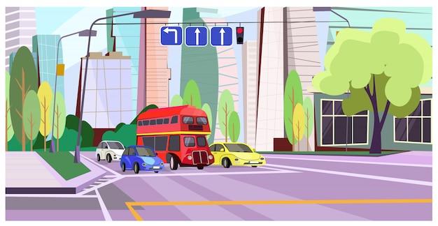 Doppeldeckerbus und -autos an der illustration des roten lichtes