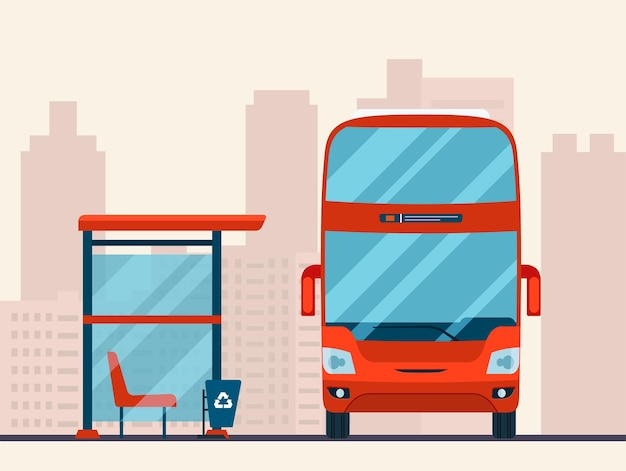 Doppeldeckerbus und bushaltestelle im abstrakten stadtbild
