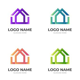 Doppelhaus-logo-vorlage mit buntem 3d-stil