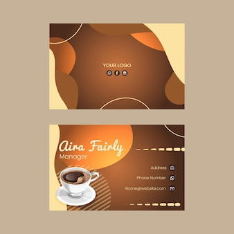 Doppelseitige horizontale visitenkarte des kaffees