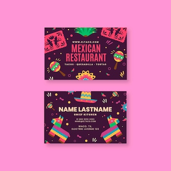 Doppelseitige horizontale visitenkarte des mexikanischen restaurantessens