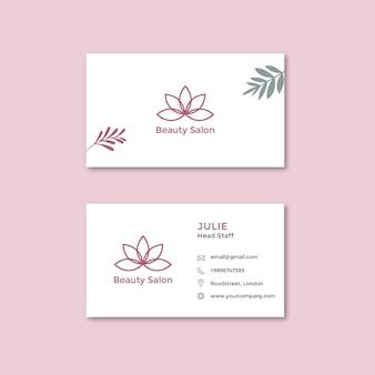 Doppelseitige horizontale visitenkarte des schönheitssalons