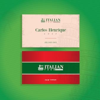 Doppelseitige horizontale visitenkartenschablone des italienischen essens