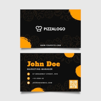 Doppelseitige horizontale visitenkartenvorlage für italienisches lebensmittelrestaurant