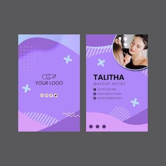 Doppelseitige vertikale visitenkarte des schönheitssalons Premium Vektoren