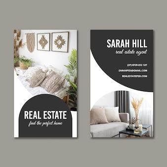 Doppelseitige vertikale visitenkarte für immobilien