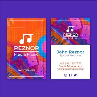 Doppelseitige vertikale visitenkarte für medienmusik