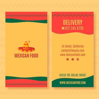 Doppelseitige vertikale visitenkartenschablone für mexikanisches lebensmittelrestaurant