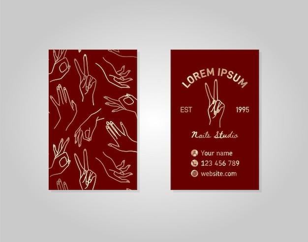 Doppelseitige visitenkarte aus weinrotgold mit weiblicher hand im linearen stil. vektorlogo für einen schönheitssalon oder eine maniküre. vorlage zum verpacken von handcreme oder nagellack, seife, schönheitsgeschäft