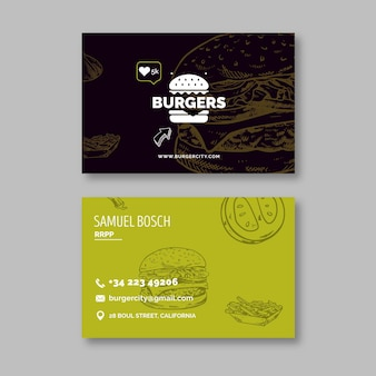 Doppelseitige visitenkarte des burgers restaurants
