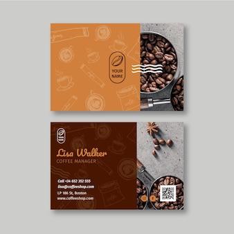 Doppelseitige visitenkarte des coffeeshops horizontal