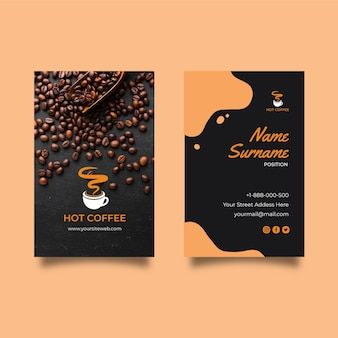Doppelseitige visitenkarte des coffeeshops v
