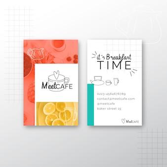 Doppelseitige visitenkarte des frühstücksrestaurants v