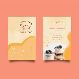 Doppelseitige visitenkarte des frühstücksrestaurants