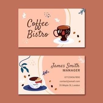 Doppelseitige visitenkarte des horizontalen kaffees