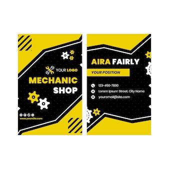 Doppelseitige visitenkarte des mechanikers