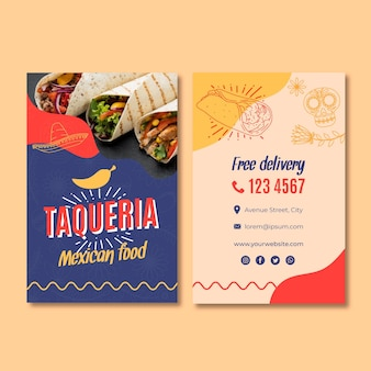 Doppelseitige visitenkarte des mexikanischen restaurants