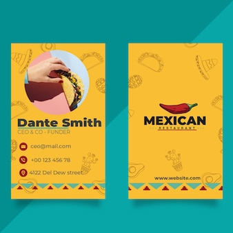 Doppelseitige visitenkarte des mexikanischen restaurants Premium Vektoren