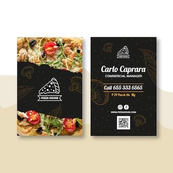 Doppelseitige visitenkarte des pizzarestaurants