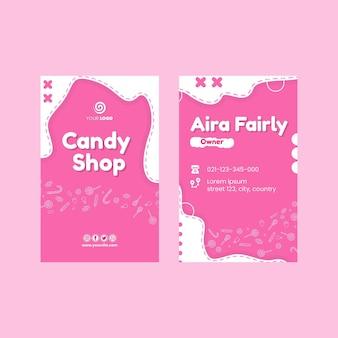 Doppelseitige visitenkarte des süßwarenladens