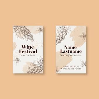 Doppelseitige visitenkarte des weinfestivals