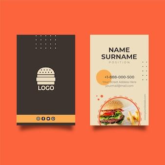Doppelseitige visitenkarte für amerikanisches essen