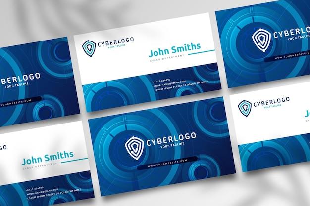 Doppelseitige visitenkarte für cybersicherheit h