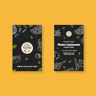 Doppelseitige visitenkarte für italienisches essen