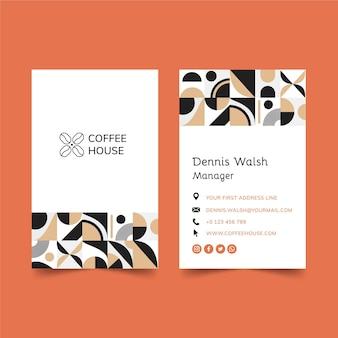 Doppelseitige visitenkarte für kaffee