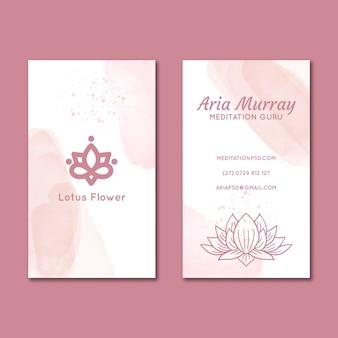 Doppelseitige visitenkarte für meditation und achtsamkeit