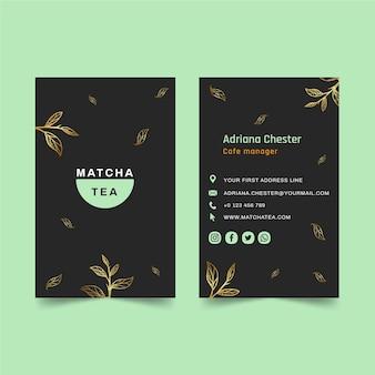 Doppelseitige visitenkarte matcha tee Premium Vektoren