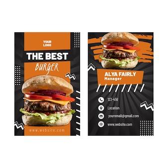 Doppelseitige visitenkarte mit amerikanischem essen