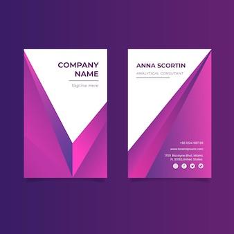 Doppelseitige visitenkarte mit farbverlauf