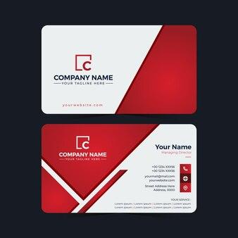 Doppelseitige visitenkarten-designvorlage in roter farbe