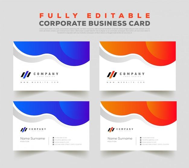 Doppelseitige visitenkarten-entwurfsvorlage vorne und hinten