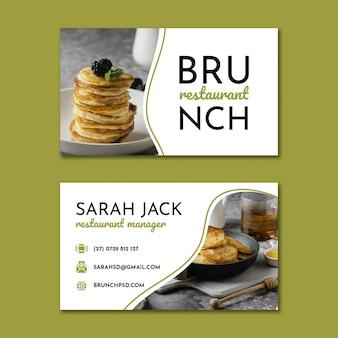 Doppelseitige visitenkartenvorlage für das brunch-restaurant