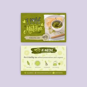 Doppelseitige visitenkartenvorlage für matcha-tee