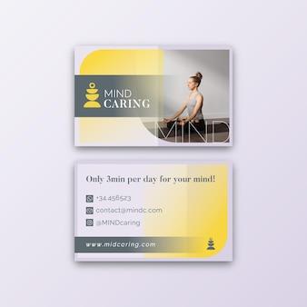 Doppelseitige visitenkartenvorlage für meditation und achtsamkeit