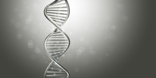 Doppelsträngiges helix-dna-modell in grauer farbe