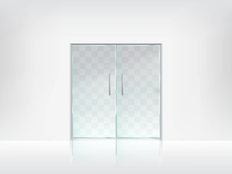 Doppelte Glastür transparente Vektor Vorlage