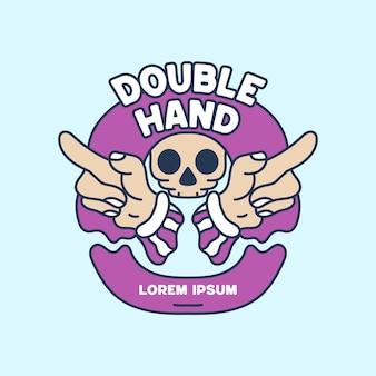 Doppelte hand mit schädelillustration hand gezeichnet