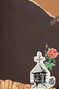 Doppelte moosrose und ein vogelhaus mit zerrissenem braunem papierhintergrund