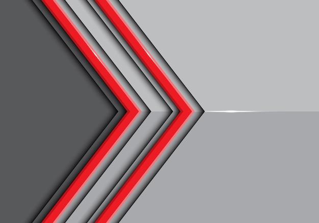 Doppelte rote linie pfeil auf grauem glänzendem hintergrund.