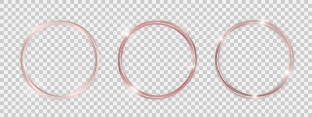 Doppelte runde glänzende rahmen mit leuchtenden effekten. satz von drei roségoldenen doppelten runden rahmen mit schatten auf transparentem hintergrund. vektor-illustration Premium Vektoren