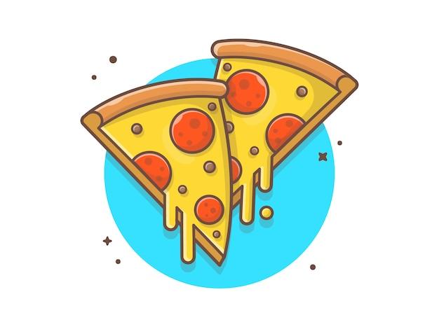 Doppelte scheibe pizza mit geschmolzenem käse