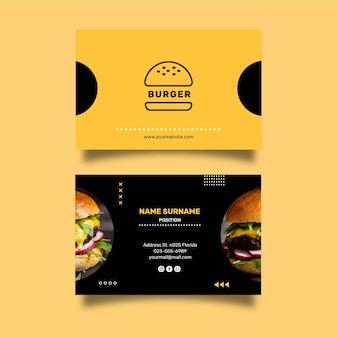 Doppelte seitliche horizontale visitenkartenschablone des burgerrestaurants