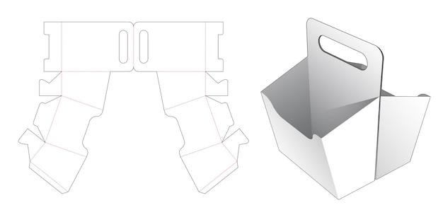 Doppelte snackbehälterbox mit griffstempelschablone