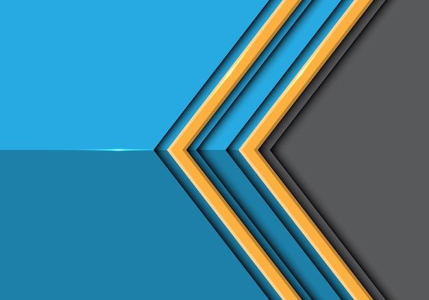 Doppelter gelber linie pfeil auf blauem glattem grauem hintergrund.