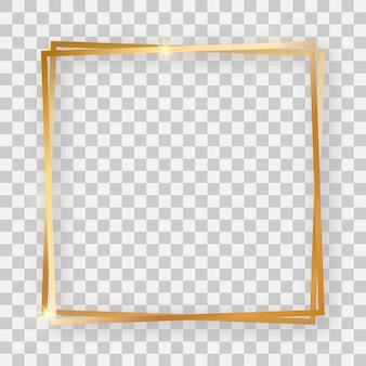 Doppelter goldglänzender quadratischer rahmen mit leuchtenden effekten und schatten auf transparentem hintergrund. vektor-illustration